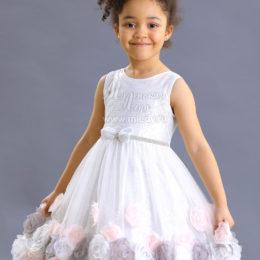 Детское серебряное платье с розовой отделкой